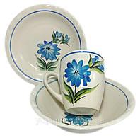 Набор 3-х предметный ''Рисовка  виола синяя  '' (Миска,тарелка,кружка).