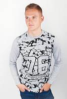 Батник хлопковый тонкий, свитер осенний №209G002 (Светло-серый)
