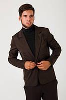 Пиджак мужской, стильный, на одной пуговице 2402/1 (Темно-коричневый)