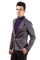 Пиджак мужской, стильный, на одной пуговице 2402/1 (Темно-серый)