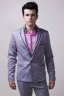 Пиджак мужской с контрастными вставками 2404 (Стальной)