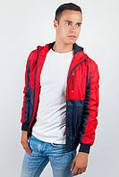 Ветровка мужская с капюшоном №57F106 (Сине-красный)
