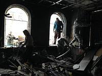 Уборка после пожара в Киеве и Чернигове