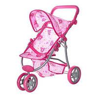 Кукольная коляска металлическая, колеса поворачивают, высота до ручки регулируется по высоте(+)
