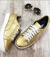 Кроссовки Puma кожаные, золотистые