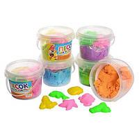 Песок кинетический для творчества, 6 цветов, 300г, 6 формочек (морск.обит), в ведре + код MMT-MK0465