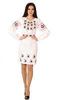 Плаття вишите жіноче, білого кольору з червоно-зеленою вишивкою, на довгий рукав.