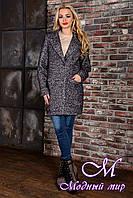 Женское демисезонное темно-серое пальто  (р. S, M, L) арт. Кайра крупное букле 9010