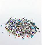 Стразы стеклянные MIX (разные цвета и размер), 800-850 шт. в пакетике (аналог Swarovski) , фото 2