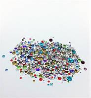 Стразы стеклянные MIX (разные цвета и размер), 800-850 шт. в пакетике (аналог Swarovski)