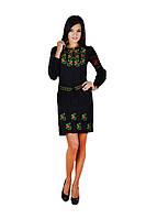 Плаття вишите жіноче, чорного кольору з червоно-зеленою вишивкою, на довгий рукав.