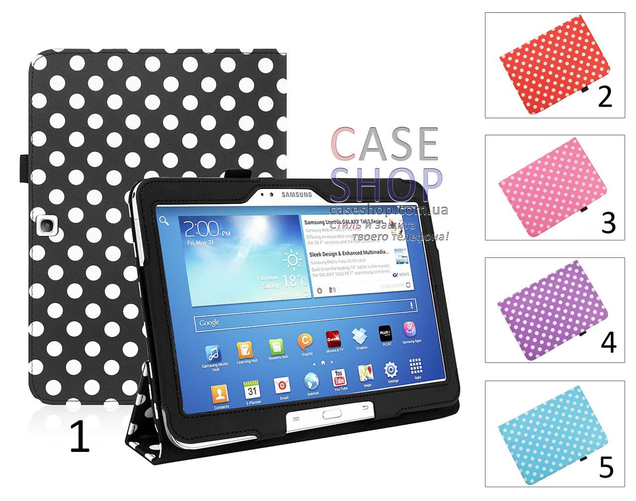 """Откидной чехол для Samsung p5200 Galaxy Tab 3 10.1 с рисунком """"Горошек"""""""