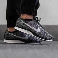 Кроссовки мужские Nike Flyknit Racer Oreo (найк) серые