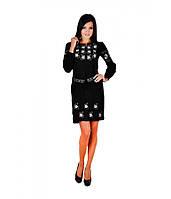 Плаття вишите жіноче, чорного кольору з сірою вишивкою, на довгий рукав.