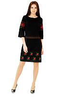 Плаття вишите жіноче, чорного кольору з червоною вишивкою, на 3/4 рукав., фото 1