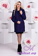 Женское темно-синее демисезонное пальто (р. S, M, L) арт. Кайра крупное букле 9549