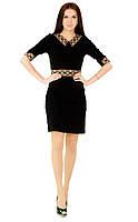 Плаття вишите жіноче, чорного кольору з різноколірною вишивкою, на 3/4 рукав.