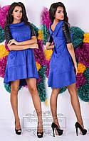 Стильное платье клеш из замша (цвета в ассортименте)  код 261 Б