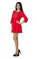 Плаття червоне з білою вишивкою