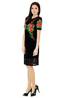 Плаття вишите жіноче, чорного кольору з червоною вишивкою, на короткий рукав.