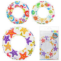 Детский надувной круг 59241 цветной, 61см, 3 вида, в кульке, 23,5-15см