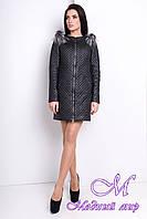 Женское черное пальто из плащевки (р. S, M, L) арт. Соул 9989