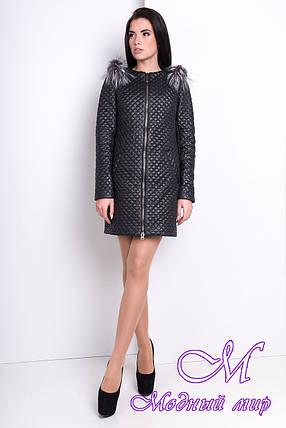 Женское черное пальто из плащевки (р. S, M, L) арт. Соул 9989, фото 2