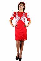 Плаття вишите жіноче, червоного кольору з світло-рожевою вишивкою, на короткий рукав.