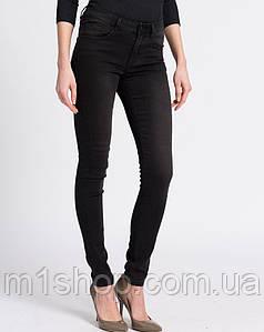 Женские черные джинсы скинни с потертым эффектом (Vila)