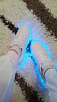 Белые светящиеся led кроссовки