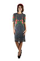 Плаття вишите жіноче, сірого кольору з червоною вишивкою, на короткий рукав.