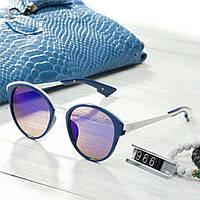 Женские брендовые очки копия Диор реплика круглые синие, фото 1