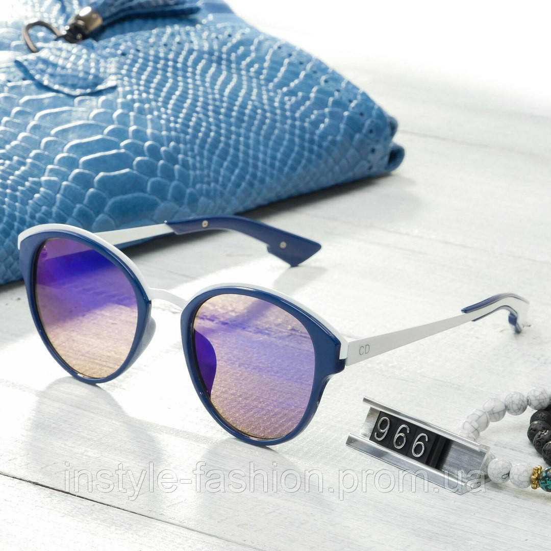 Женские брендовые очки копия Диор реплика круглые синие