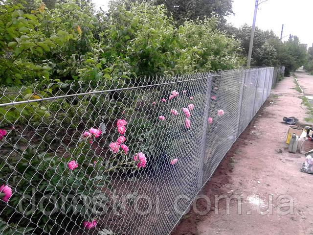 Забор из сетки Рабица ДомСтрой