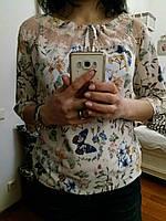Романтичная блуза из натуральной ткани, ажурные вставки, M,L,XL р-ры, 240/210 (цена за 1 шт. + 30 гр.)