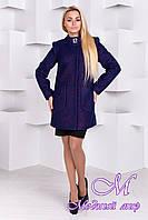 Женское весеннее темно-синее пальто (р.S, M, L) арт.Мирта 77 крупное букле лайт 9548