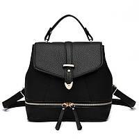 Сумка рюкзак кожаная женская  каркасная  (черная)