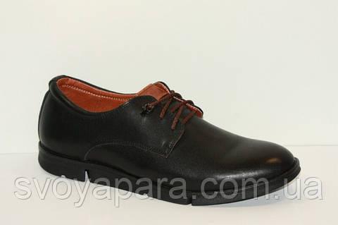 Туфли мужские кожаные чёрные классические на плоской подошве с шнурками
