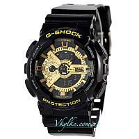 Мужские часы Casio G-Shock GA-110 черные с золотом