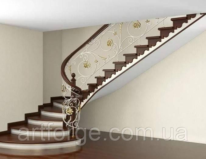 Кованая лестница, ограждение лестницы, перила.