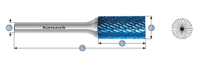 Борфреза цилиндр с торцовыми зубьями ZYB(Тип В) с напылением BLUE-TEC