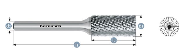 Борфреза цилиндр с торцовыми зубьями ZYB(Тип В) без напыления