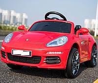Детский электромобиль M 3446 EBLR-3 Порше на резиновых ЕВА колёсах, сиденье кожа, красный