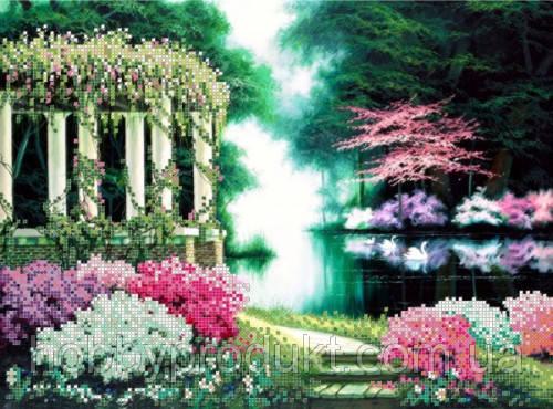 """Рисунок на ткани для вышивания бисером """"Цветущий парк 1"""", фото 2"""