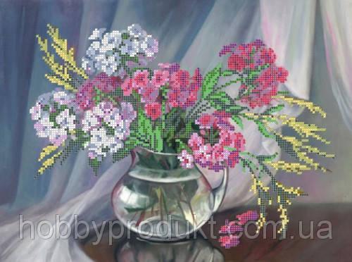"""Рисунок на ткани для вышивания бисером """"Флоксы в вазе"""", фото 2"""