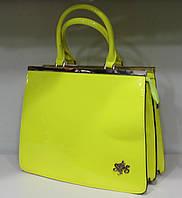 Сумка женская Стильная лакированная Лимонный  17-2061-2