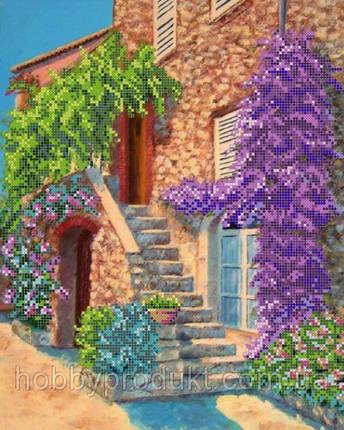 """Рисунок на ткани для вышивания бисером """" Цветущий дворик"""", фото 2"""