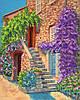 """Рисунок на ткани для вышивания бисером """" Цветущий дворик"""""""