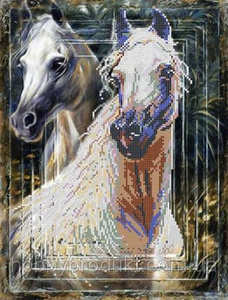 """Рисунок на ткани для вышивания бисером """"Белые мустанги"""", фото 2"""