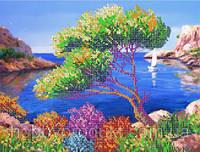 """Рисунок на ткани для вышивания бисером """" Морской пейзаж"""""""